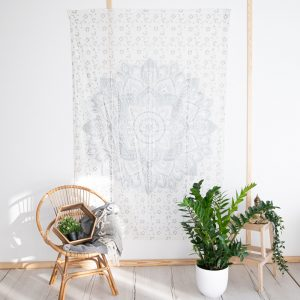 Authentisches Mandala Wandtuch Baumwolle Silber/Weiß (215 x 135 cm)