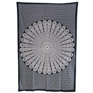 Authentisches Mandala Wandtuch Baumwolle Schwarz/Weiß (215 x 135 cm)