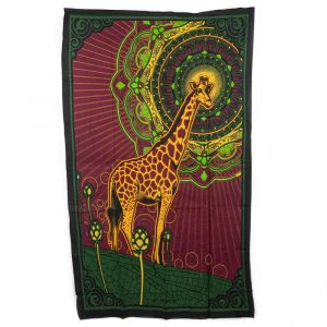 Authentisches Mandala Wandtuch Baumwolle Giraffen (215 x 135 cm)