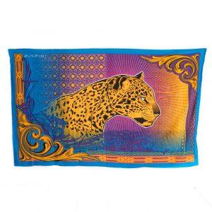 Authentisches Wandtuch Baumwolle mit Panther (215 x 135 cm)