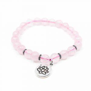 Edelstein-Armband Rosenquarz mit Lotus