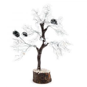 Edelstein-Baum Bergkristall mit getrommeltem Turmalin (25 cm)