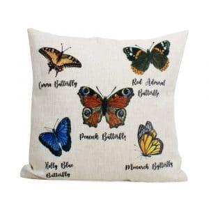 Kissen aus Leinen Schmetterlinge (45 x 45 cm)