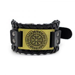 Wikinger Armband Runenkompass Kunstleder Verstellbar