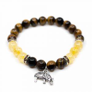 Edelstein Armband Tigerauge/Citrin mit Elefant