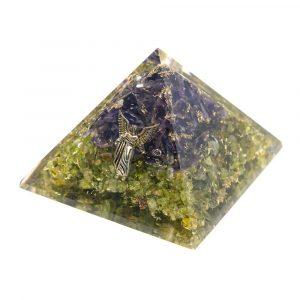 Orgonit-Pyramide Peridot/Amethyst - Engel Raphael - (70 mm)