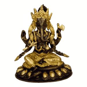 Ganesha auf Lotus Messing 2-farbig - 20 cm