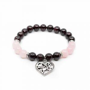 Edelstein Armband Granat und Rosenquarz mit Herz