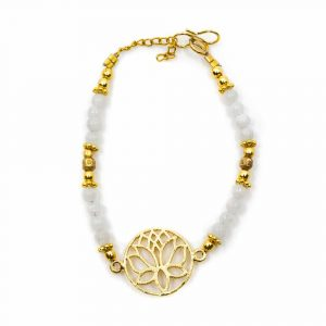 Edelstein-Armband Mondstein mit Lotus (20 cm)