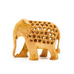 Hölzerne Elefantenstatue mit Baby (8 cm)