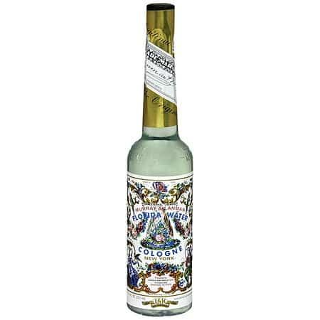 Florida Water Murry & Lanman Flasche Grün auf weißem Hintergrund