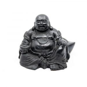 Schungit Statue Happy Buddha gepresst