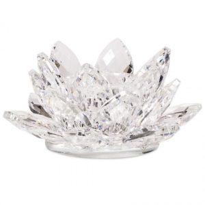 Lotus Kerzenhalter Kristall (8 x 3 cm)