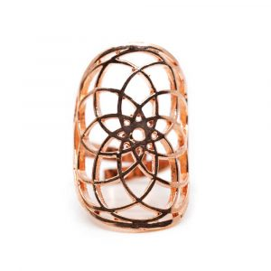 Verstellbarer Ring Seed of Life Farbe Roségold (30 mm)