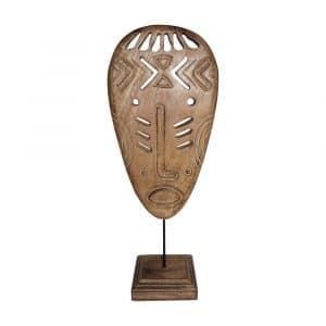 Dekoration Mangoholz Maske auf Ständer (48 cm)