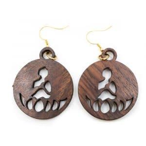 Ohrringe Buddha Holz