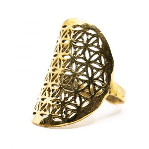 Verstellbarer Ring Blume des Lebens Gold (30 mm)