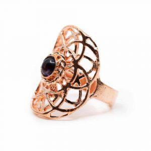 Verstellbarer Ring Seed of Life Kupfer mit Amethyst (30 mm)