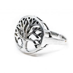 Verstellbarer Ring Baum des Lebens Silber (20 mm)