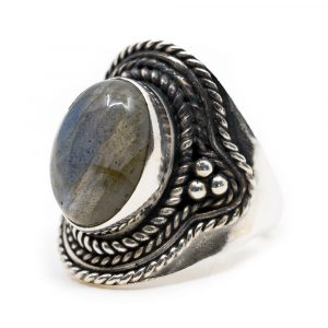 """Edelstein-Ring Labradorit 925 Silber """"Omara"""" (Größe 17)"""