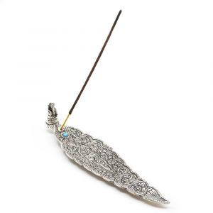 Goldfarbener Weihrauch-Brenner mit Ganesha Blatt Form Silber (22 cm)