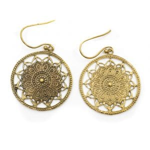 Ohrringe Lotus Mandala Messing Rund Gold (30 mm)