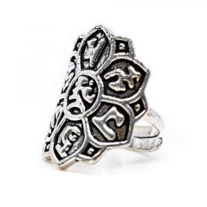 Verstellbarer Ring Lotus Messing Silber (25 mm)