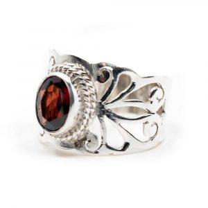 """Edelstein-Ring Granat 925 Silber """"Sonsare"""" (Größe 17)"""