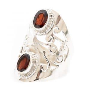 """Edelstein-Ring Granat 925 Silber """"Yosroa"""" (Größe 17)"""
