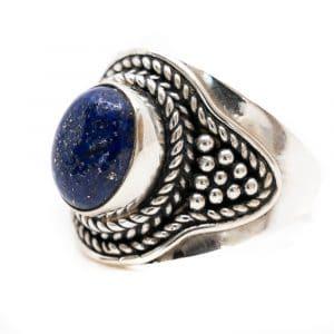 "Edelstein-Ring Lapislazuli 925 Silber ""Feze"" (Größe 17)"