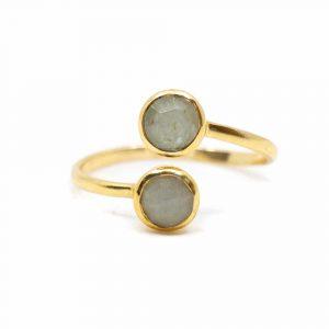 Geburtsstein Ring Aquamarin März - 925 Silber - verstellbar