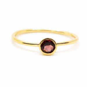 Geburtsstein Ring Granat Januar - 925 Silber (Größe 17) vergoldet