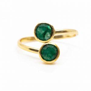 Geburtsstein Ring Smaragd Mai - 925 Silber - verstellbar