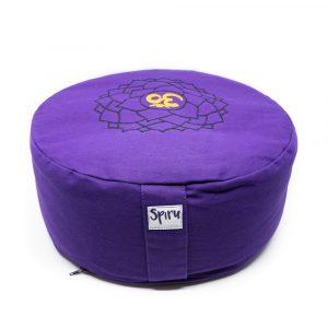 Spiru-Meditationskissen Baumwolle Violett - 7. Chakra Swadhishthana - 36 x 15 cm