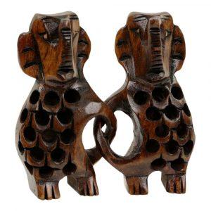 Statue aus Holz Elefanten Paar (6 x 6 x 2 cm)