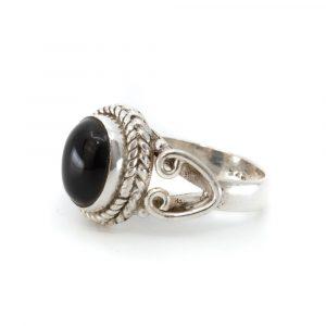 """Edelstein-Ring Schwarzer Onyx 925 Silber """"Dakishi"""" (Größe 17)"""