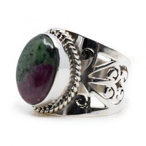 "Edelstein-Ring Rubin in Zoisit 925 Silber ""Elnoa"" (Größe 17)"