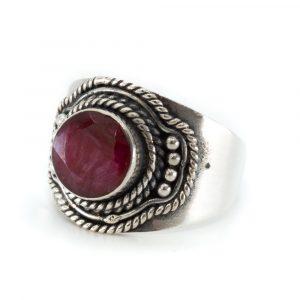"""Edelstein-Ring Rubinquarz 925 Silber """"Ehna"""" (Größe 17)"""