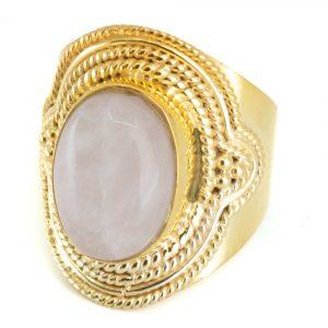 """Edelstein-Ring Rosenquarz 925 Silber & Gold plattiert """"Elare"""" (Größe 17)"""