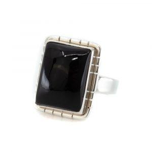 """Edelstein-Ring Schwarzer Onyx 925 Silber """"Ulsahni"""" (Größe 17)"""