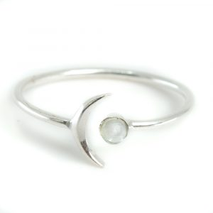 Geburtsstein Mond Ring Aquamarin März - 925 Silber