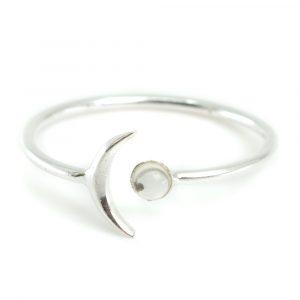 Geburtsstein Mond Ring Bergkristall April - 925 Silber