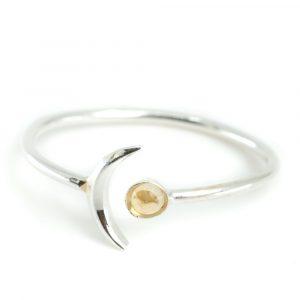 Geburtsstein Mond Ring Citrin November - 925 Silber - Silber