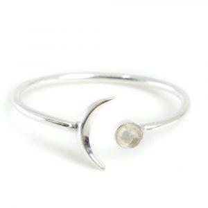 Geburtsstein Mond Ring Mondstein Juni- 925 Silber - Silber