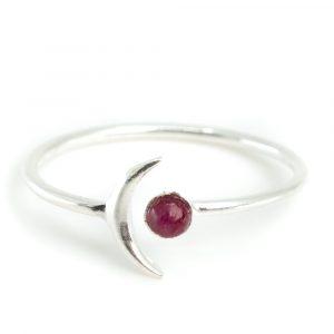 Geburtsstein Mond Ring Rubin Juli - 925 Silber - Silvery