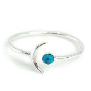 Geburtsstein Mond Ring Türkis Dezember - 925 Silber - Silvery