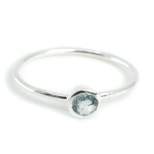 Geburtsstein Ring Aquamarin März - 925 Silber - Silber (Größe 17)