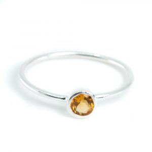 Geburtsstein Ring Citrin November - 925 Silber - Silbrig (Größe 17)
