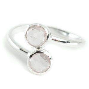 Geburtsstein Ring Rosenquarz Oktober - 925 Silber