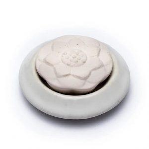 Aroma Stein Diffusor Lotus mit weißer Basis (7,5 cm)